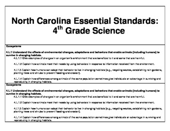 """4th Grade Science Essential Question """"I Can"""" Cards (North Carolina)"""