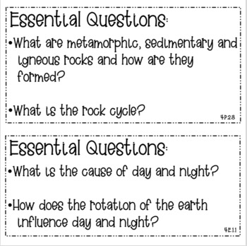 4th Grade Science Essential Questions and Focus Wall Questions