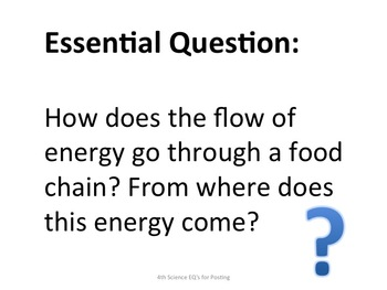4th Grade Science Essential Questions for Posting - Specific to Georgia