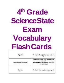 4th Grade Science Exam Vocabulary Flash Cards (NY)