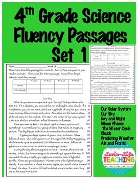 Fluency Passages 4th Grade Science Set 1- Solar System, Weather, Moon Phases