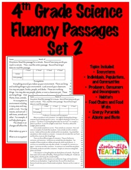 Fluency Passages 4th Grade Science Set 2- Habitats and Ecosystems