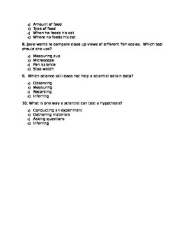 4th Grade Science Fusion- Unit 1 TEST