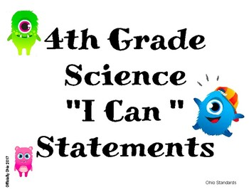 "4th Grade Science ""I Can"" Statements"