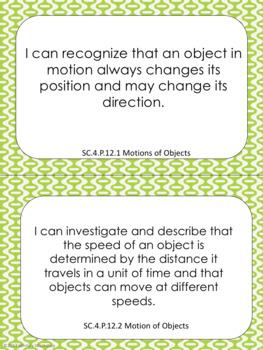 4th Grade Science I Can Statements: Florida State Standards