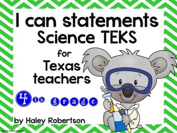"4th Grade Science ""I can"" statements- Chevron pattern (using TEKS)"
