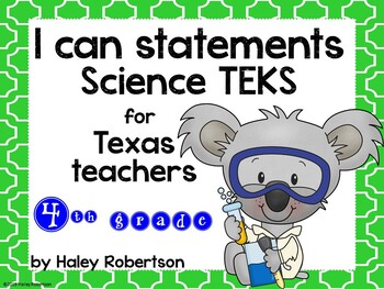 "4th Grade Science ""I can"" statements- Tile pattern (using TEKS)"
