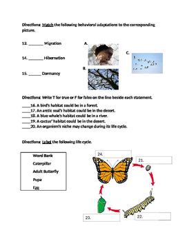 4th Grade Science Living Systems Test and Study Guide