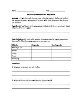 4th Grade Science Magnetism Performance Task