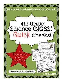 4th Grade Science Quick Check Spiral Review Set (NGSS/Ohio