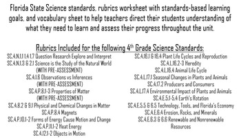 4th Grade Science Rubrics and Learning Goals- Florida