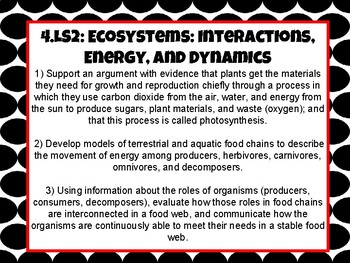 Tennessee 4th Grade Science Standard-Ecosystem