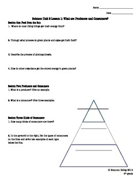4th Grade Science Study Guide Energy for Life and Growth