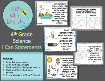 4th Grade Science TEKS I Can Standards