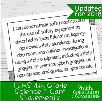 """Fourth Grade Science TEKS """"I Can"""" Statements"""