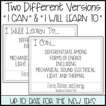 """4th Grade Science TEKS  - """"I Can"""" Statements / """"I Will Learn To"""" Posters"""