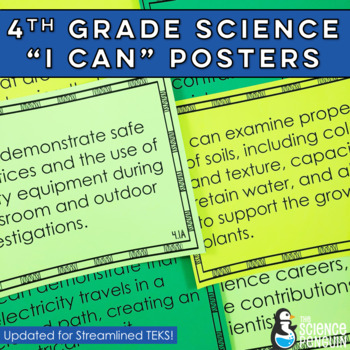 4th Grade Science Streamlined TEKS Posters