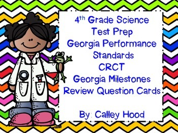 4th Grade Science Test Prep Review Question Cards CRCT, GA