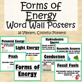 Science Word Wall Posters- Forms of Energy