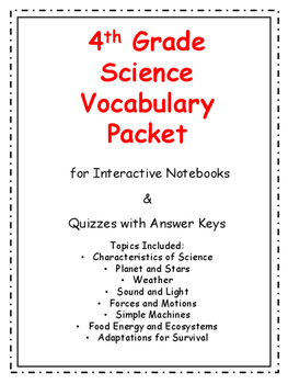 4th Grade Science Vocabulary BIG Packet