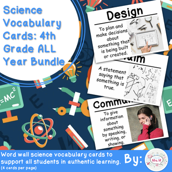 4th Grade Science Vocabulary Cards: All Year Bundle