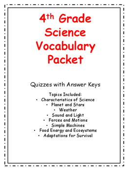4th Grade Science Vocabulary Quizzes