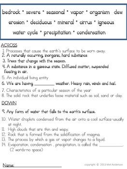 4th Grade Science Vocabulary Review Crossword