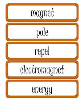 4th Grade Science Vocabulary Word Wall