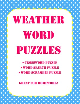 4th Grade Science - Weather Unit Word Puzzles