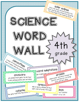 4th Grade Science Word Wall