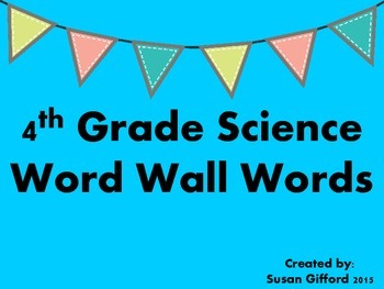 4th Grade Science Word Wall Words