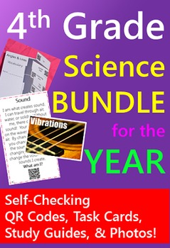 4th Grade Science BUNDLE {Task Cards & Study Guides with Q