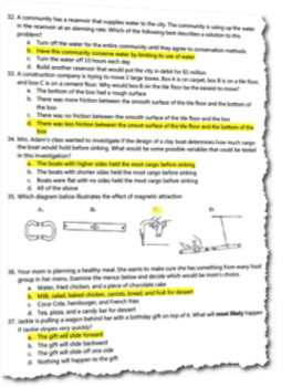 4th Grade Science Yearly Pre/Post Assessment (40 Multiple Choice Questions)