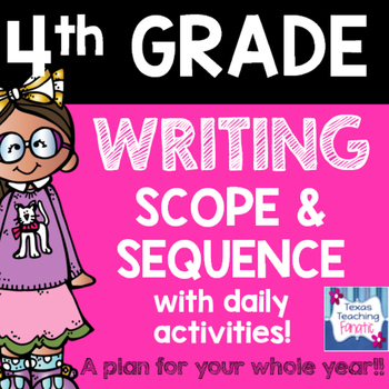 2016 - 2017 4th Grade Writing Scope & Sequence w/Daily Act