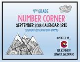 4th Grade September Number Corner Student Worksheets