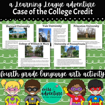 4th Grade September Reading Adventure- Case of the College Credit