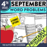 4th Grade September Word Problems printable and digital ma