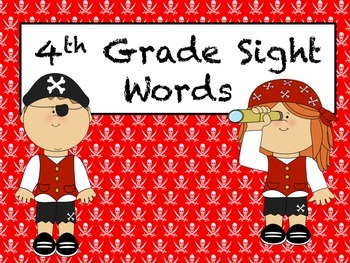 4th Grade Sight Words (Red and Black/Pirate)