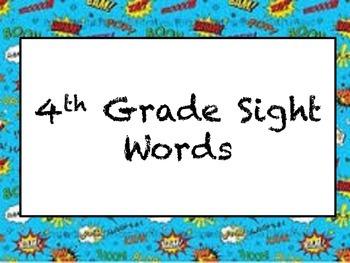 4th Grade Sight words Superhero