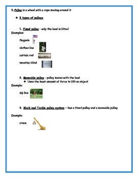 4th Grade Simple Machines Study Guide With Pictures