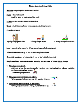 4th Grade Simple Machines Study Guide and Test Bundled