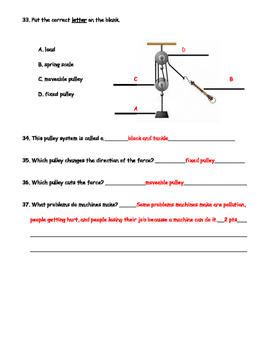 4th Grade Simple Machines Test