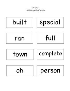 4th Grade Sitton Spelling  Words