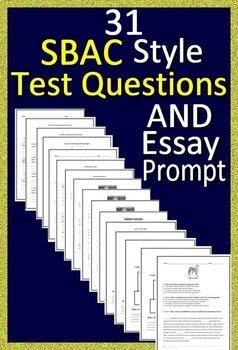4th Grade Smarter Balanced Test Prep ELA - SBAC - Printable AND Paperless