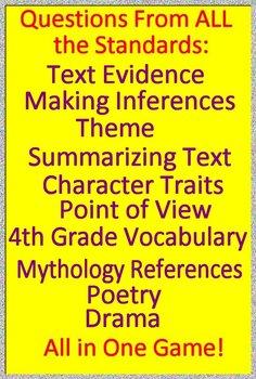 4th Grade Smarter Balanced Test Prep Reading Literature + Narrative Game CAASPP