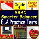 4th Grade Smarter Balanced Test Prep SBAC ELA Practice Assessments Games Bundle