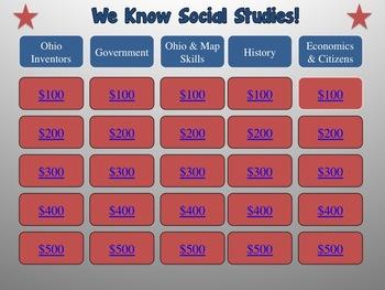 4th Grade Social Studies AIR Test Prep Jeopardy Game!
