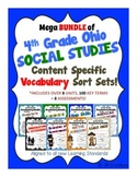 4th Grade Social Studies Bundle of Content Specific Vocab Sort Sets (Ohio Model)