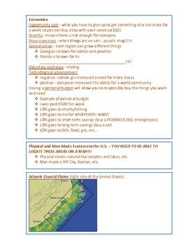 4th Grade Social Studies CRCT Study Guide