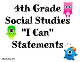 """4th Grade Social Studies """"I Can"""" Statements"""